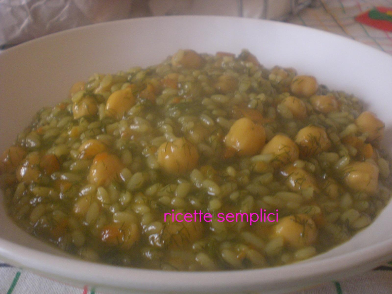 riso con ceci e finocchietto selvatico - ricette semplici - Cucinare Finocchietti